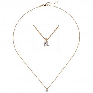 Collier Kette mit Anhänger 585 Gold Rotgold 1 Diamant Brillant 0, 15 ct. 45 cm - Vorschau 1