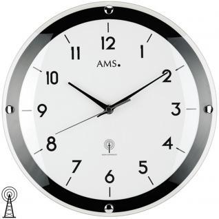 AMS 5906 Wanduhr Funk Funkwanduhr analog schwarz weiß rund schlicht mit Glas