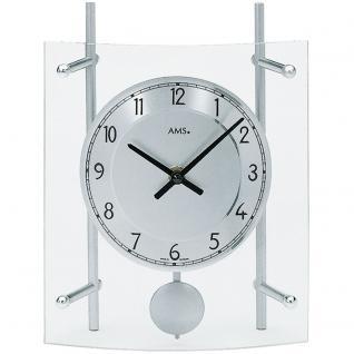 AMS 137 Tischuhr Quarz mit Pendel silbern geschwungen mit Glas