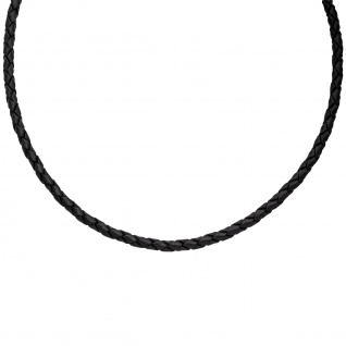 Leder Halskette Kette Schnur schwarz 45 cm Karabiner 925 Silber - Vorschau 3