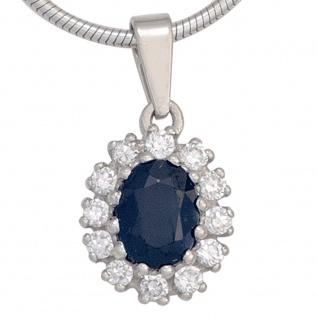 Anhänger 925 Sterling Silber rhodiniert 12 Zirkonia 1 Safir blau - Vorschau 2