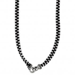 Kette Baumwolle schwarz mit Edelstahl und SWAROVSKI® ELEMENTS Halskette 57 cm