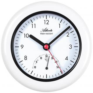 Atlanta 456/0 Wanduhr Tischuhr Badezimmeruhr Quarz weiß rund mit Thermometer