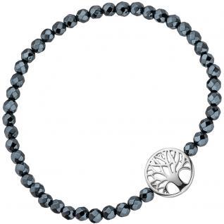 Armband Lebensbaum 925 Sterling Silber mit Hämatit schwarz flexibel