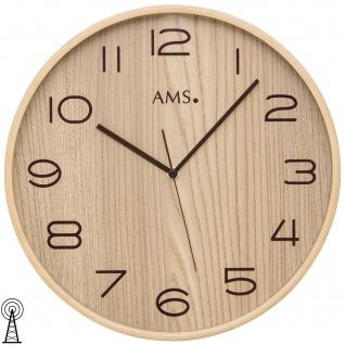 AMS 5514 Wanduhr Funk Funkwanduhr analog Holz naturfarben braun