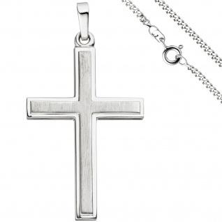 Anhänger Kreuz 925 Silber teil matt Kreuzanhänger Silberkreuz mit Kette 60 cm