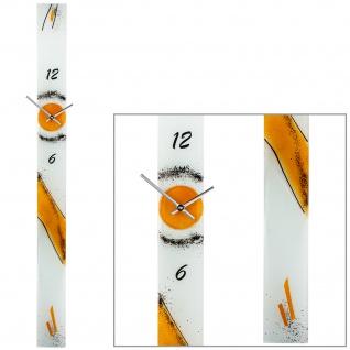 AMS 9373 Wanduhr Quarz analog orange modern schmal länglich Handarbeit