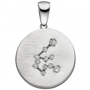 Anhänger Sternzeichen Wassermann 925 Sterling Silber matt 11 Zirkonia Silber
