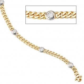 Armband 585 Gold Gelbgold Weißgold bicolor 6 Diamanten Brillanten 19 cm - Vorschau 2