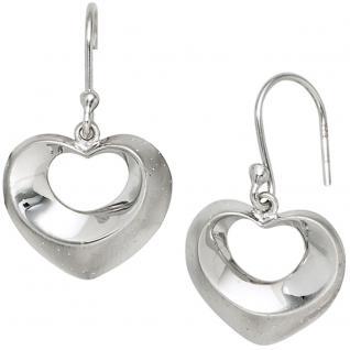 Ohrhänger Herz Herzen 925 Sterling Silber mattiert mit Glitzereffekt Ohrringe