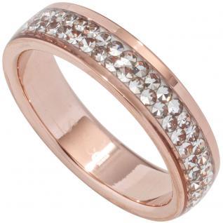 Damen Ring Edelstahl rotgold farben beschichtet mit SWAROVSKI® ELEMENTS