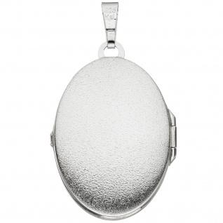 Medaillon oval 925 Sterling Silber rhodiniert mattiert Anhänger zum Öffnen - Vorschau 2