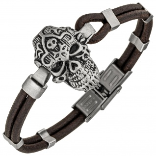 Armband Totenkopf Leder braun und Edelstahl matt 21 cm