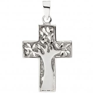 Anhänger Kreuz Baum 925 Sterling Silber Kreuzanhänger Silberkreuz