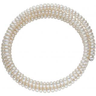 Armreif 2-reihig aus Süßwasser Perlen Armband Perlenarmband Perlenarmreif