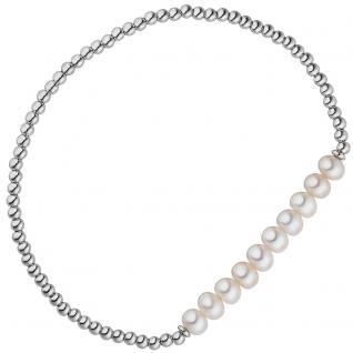 Armband 925 Sterling Silber 10 Süßwasser Perlen Perlenarmband flexibel elastisch