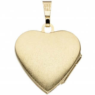 Medaillon Herz 585 Gold Gelbgold mattiert Anhänger zum Öffnen - Vorschau 2
