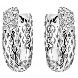 Creolen 925 Sterling Silber 32 Zirkonia Ohrringe Silbercreolen Silberohrringe