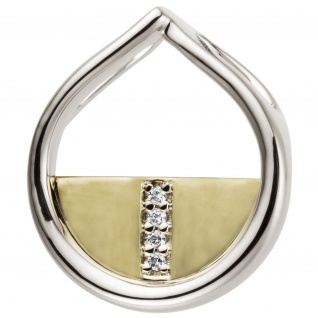 Anhänger 585 Gold Weißgold Gelbgold bicolor 4 Diamanten Brillanten 0, 02ct.