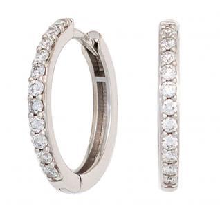 Creolen 585 Gold Weißgold 22 Diamanten Brillanten Ohrringe Diamantcreolen