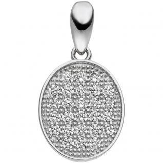 Anhänger oval 925 Sterling Silber 26 Zirkonia Silberanhänger