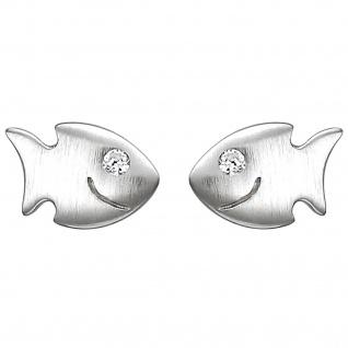 Kinder Ohrstecker Fisch 925 Sterling Silber matt 2 Zirkonia Ohrringe