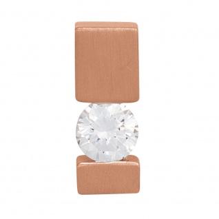 Anhänger 585 Gold Rotgold mattiert 1 Diamant Brillant 0, 25ct. Solitär
