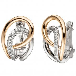Creolen 585 Gold Rotgold Weißgold bicolor 46 Diamanten Brillanten Ohrringe