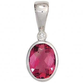 Anhänger oval 585 Gold Weißgold 1 rosa Turmalin 1 Diamant 0, 01ct.