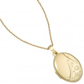 Medaillon oval 585 Gold Gelbgold Anhänger zum Öffnen - Vorschau 5