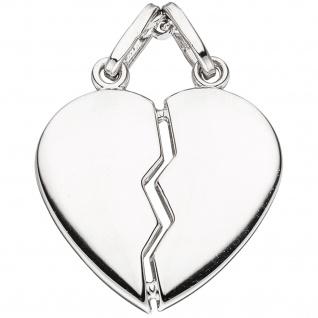 Anhänger Partneranhänger geteiltes Herz 2-teilig 925 Sterling Silber