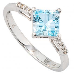 Damen Ring 585 Gold Weißgold 1 Blautopas hellblau blau 6 Diamanten Goldring