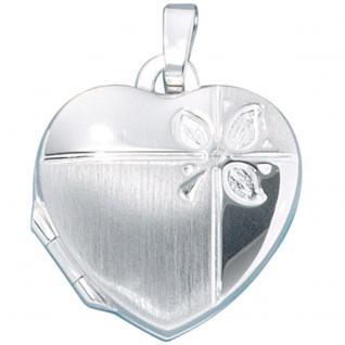 Medaillon Herz für 2 Fotos 925 Sterling Silber mattiert Anhänger zum Öffnen - Vorschau 4