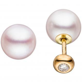 Ohrstecker doppelseitig 585 Gold Gelbgold 2 Akoya Perlen 2 Diamanten Brillanten