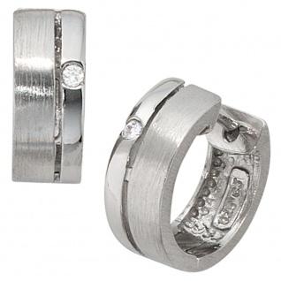 Creolen rund 925 Sterling Silber mattiert 2 Zirkonia Ohrringe Silbercreolen