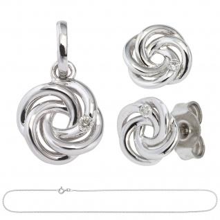 Schmuck-Set Knoten 585 Gold Weißgold 3 Diamanten Ohrringe und Kette 42 cm - Vorschau 2