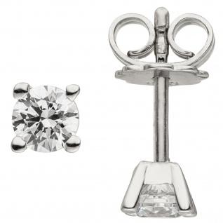 Ohrstecker 585 Gold Weißgold 2 Diamanten Brillanten 0, 74 ct. Ohrringe