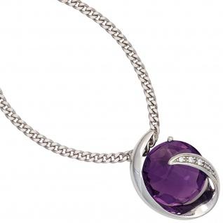 Anhänger 585 Gold Weißgold 1 Amethyst lila violett 5 Diamanten Brillanten 0, 02ct - Vorschau 3