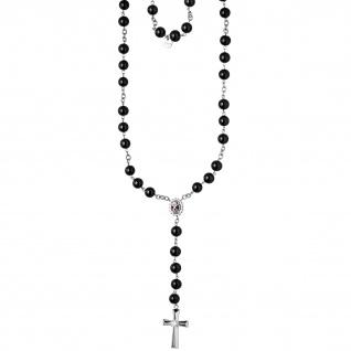 Halskette Kette Rosenkranz 70 cm Glaskugeln und SWAROVSKI® ELEMENTS