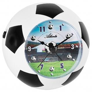 Atlanta 1197 Wecker Kinderwecker weiß schwarz Fußball Fußballwecker für Kinder