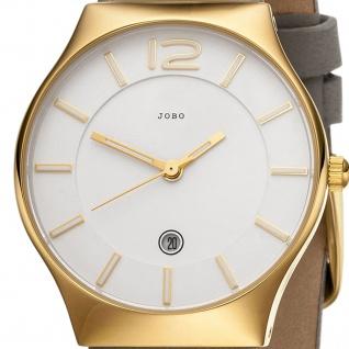 JOBO Damen Armbanduhr Quarz Analog Edelstahl vergoldet Lederband taupe Datum - Vorschau 2