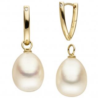 Creolen 585 Gold Gelbgold 2 Süßwasser Perlen 2 Diamanten Perlenohrringe