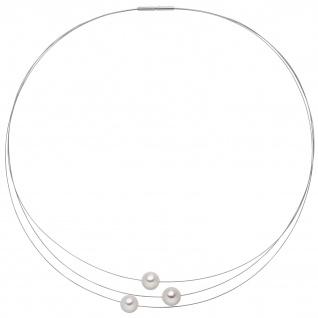 Collier Kette Halskette 3-reihig Edelstahl mit 3 Akoya Perlen 42 cm