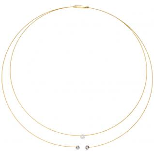 Collier Halskette 2-reihig 750 Gold bicolor 3 Diamanten Brillanten 42 cm Kette
