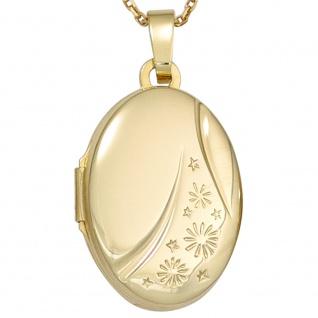 Medaillon oval 585 Gold Gelbgold Anhänger zum Öffnen - Vorschau 4