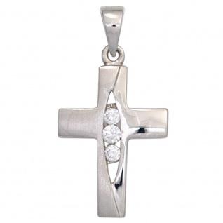 Anhänger Kreuz 925 Sterling Silber teil matt 3 Zirkonia Kreuzanhänger