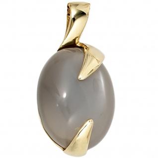 Anhänger oval 585 Gold Gelbgold 1 Mondstein Goldanhänger