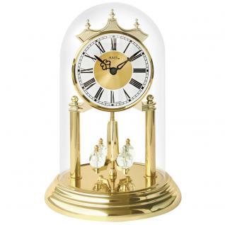 AMS 1202 Tischuhr mit Drehpendel Jahresuhr Drehpendeluhr Messing Optik golden
