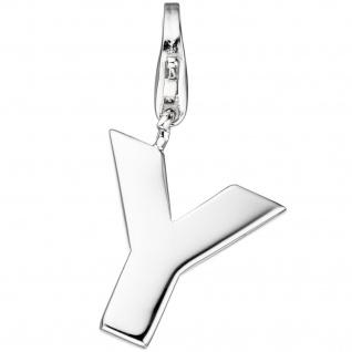 Einhänger Charm Buchstabe Y 925 Sterling Silber Anhänger für Bettelarmband