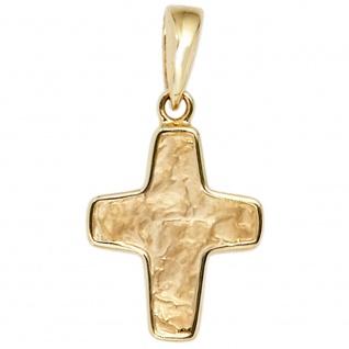 Anhänger Kreuz 585 Gold Gelbgold teil gehämmert Kreuzanhänger Goldkreuz